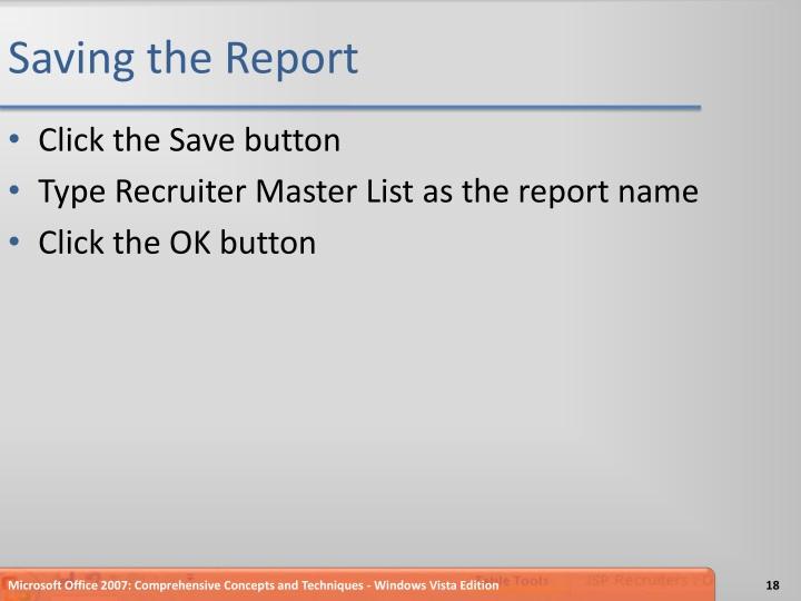 Saving the Report