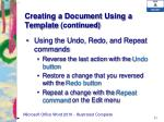 creating a document using a template continued2