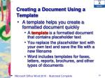 creating a document using a template
