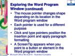 exploring the word program window continued
