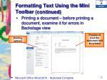 formatting text using the mini toolbar continued