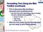 formatting text using the mini toolbar continued2