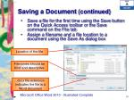 saving a document continued