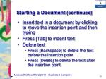 starting a document continued