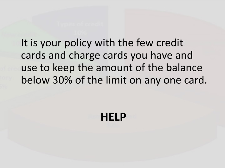 It is your policy with the few credit cards and charge cards you have and use to keep the amount of the balance below 30% of the limit on any one card.