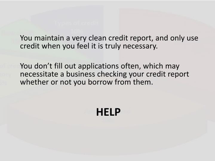 You maintain a very clean credit report, and only use credit when you feel it is truly necessary.