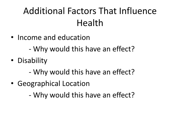 Additional Factors That Influence Health