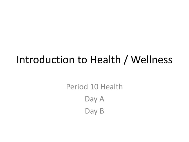 Introduction to health wellness