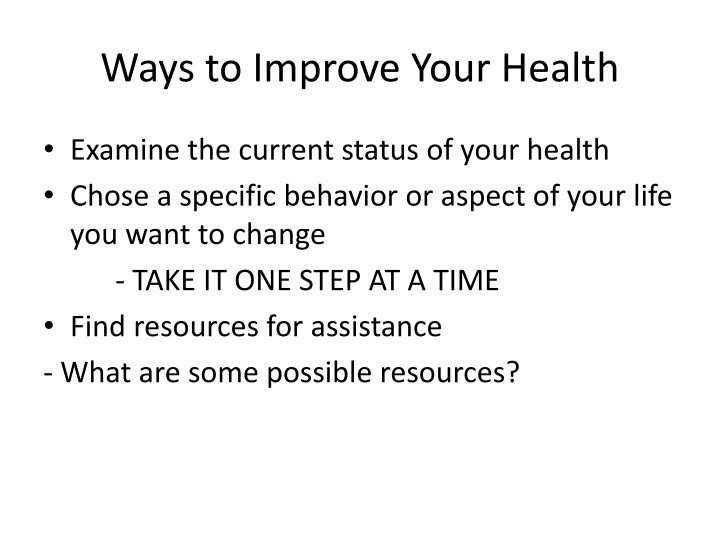 Ways to Improve Your Healt