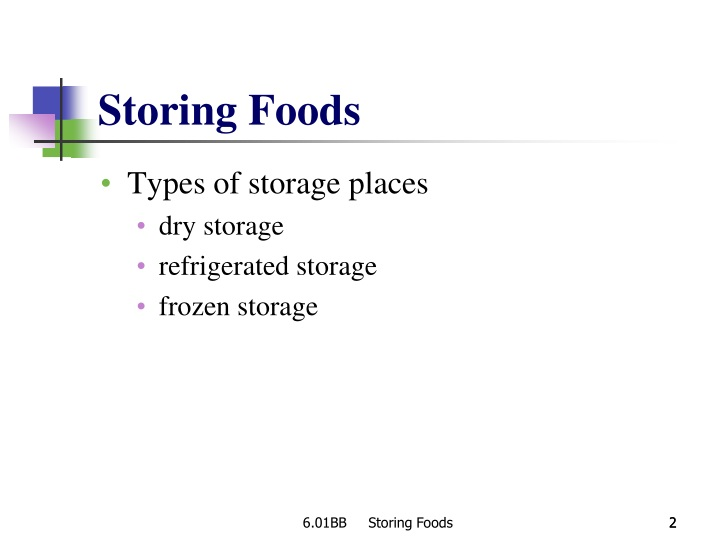 Storing foods