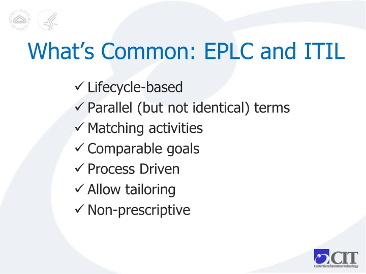 What's Common: EPLC and ITIL