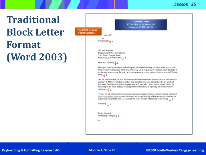traditional letter format