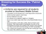 dressing for success the patriot way