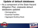 update of default databases