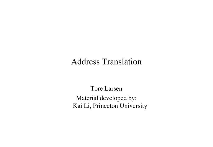 address translation n.