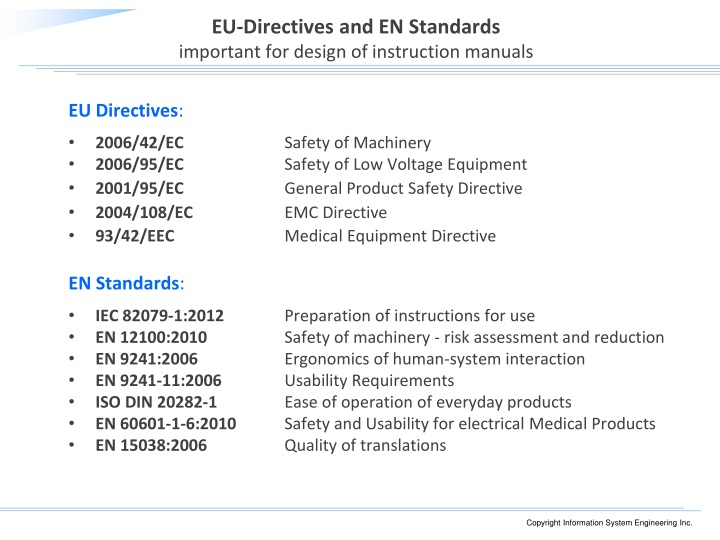 EU-Directives and EN Standards