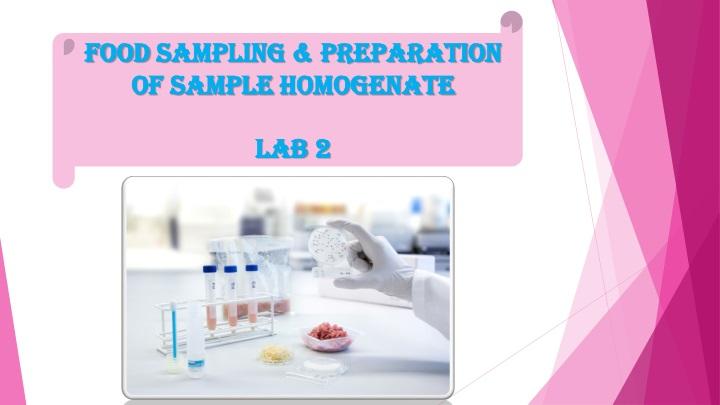 Food sampling preparation of sample homogenate