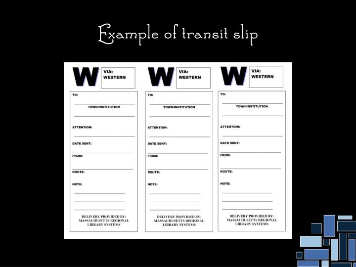 Example of transit slip