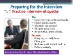 tip 7 practice interview etiquette
