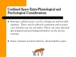 confined space entry physiological and psychological considerations
