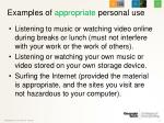 examples of appropriate personal use