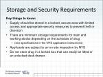 storage and security requirements