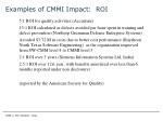 examples of cmmi impact roi