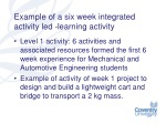 example of a six week integrated activity led learning activity