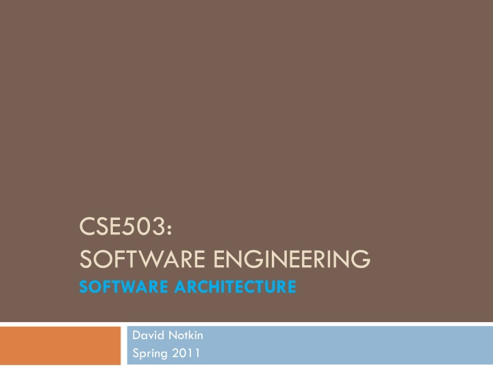 cse503 software engineering software architecture n.