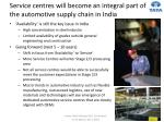 service centres will become an integral part of the automotive supply chain in india
