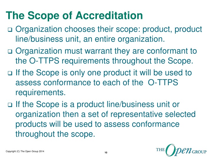 The Scope of Accreditation