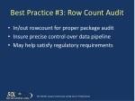 best practice 3 row count audit