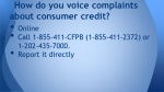 how do you voice complaints about consumer credit