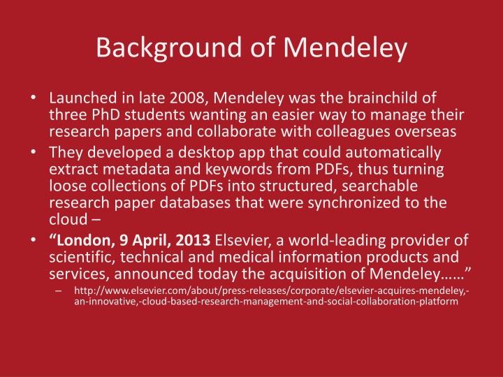 Background of mendeley
