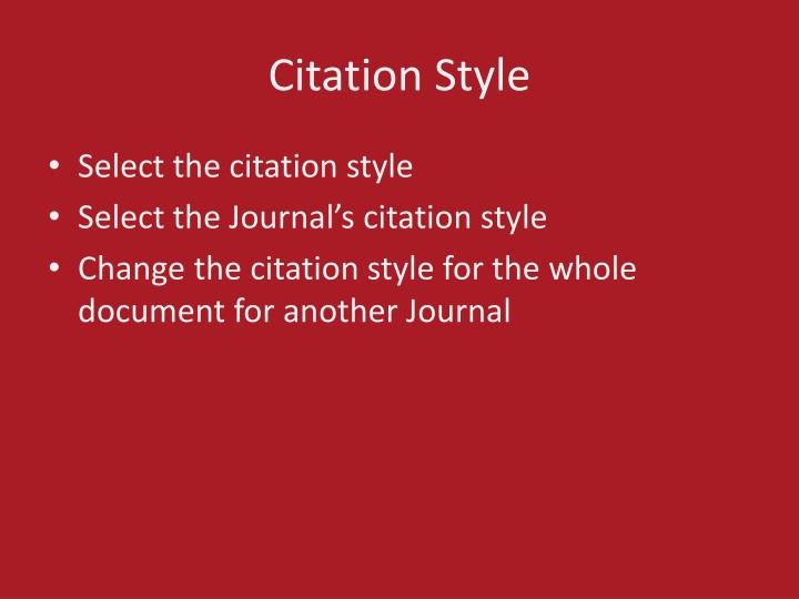 Citation Style