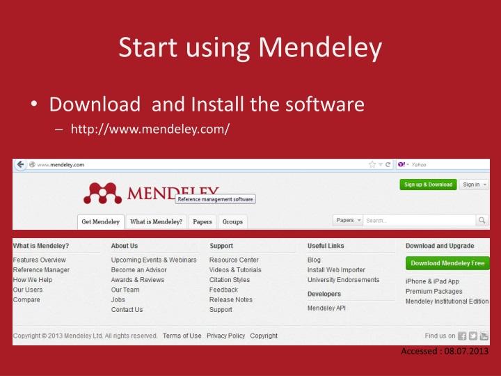 Start using Mendeley