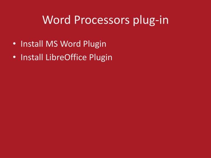 Word Processors plug-in