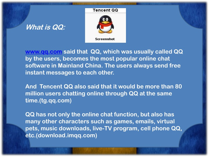 PPT - Online chat ---- QQ PowerPoint Presentation - ID:1504395