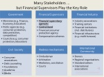 many stakeholders but financial supervisors play the key role