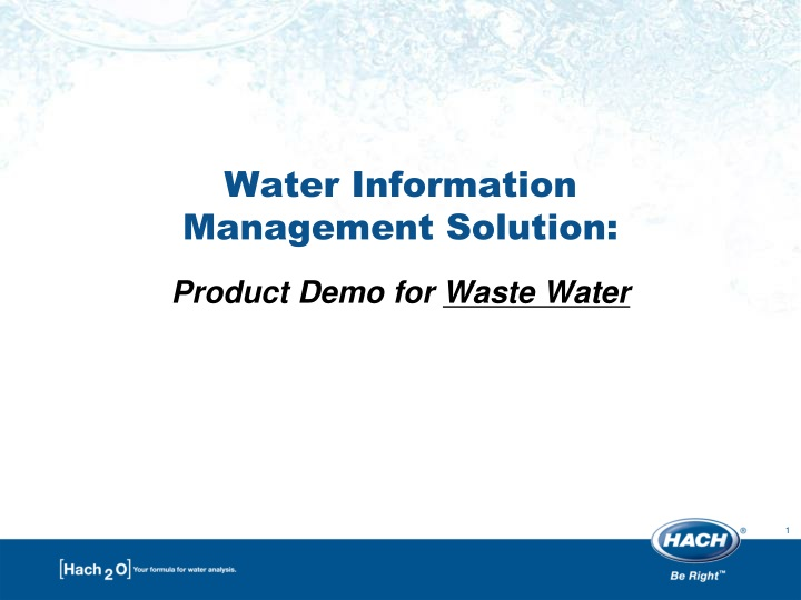 Water information management solution product demo for waste water