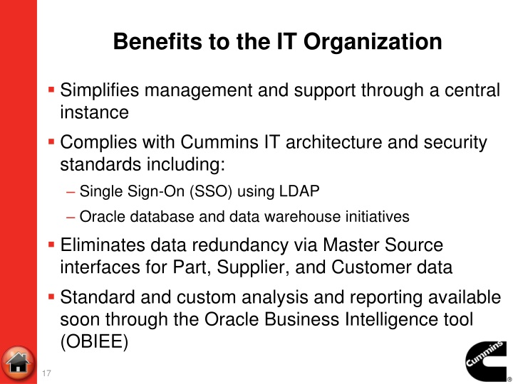 Benefits to the IT Organization