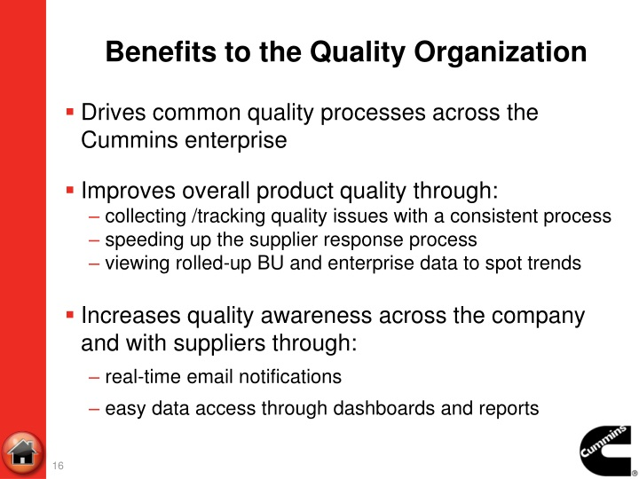 Benefits to the Quality Organization