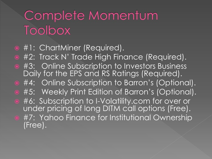 Complete Momentum Toolbox