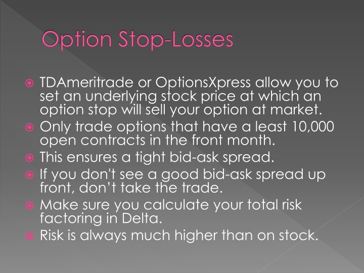 Option Stop-Losses