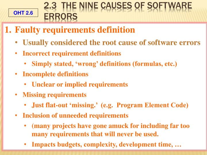 2.3  The Nine Causes of Software