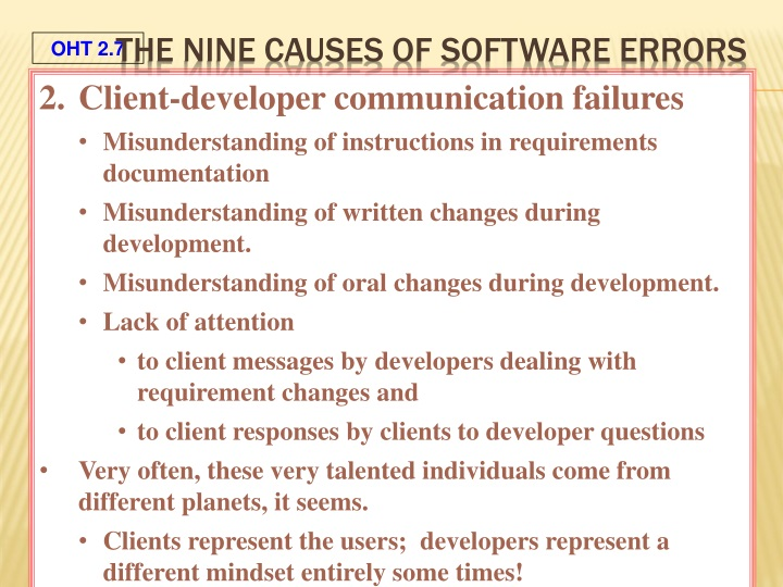 The Nine Causes of Software Errors