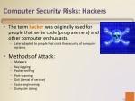 computer security risks hackers