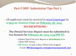 part f drp submission tips part 1