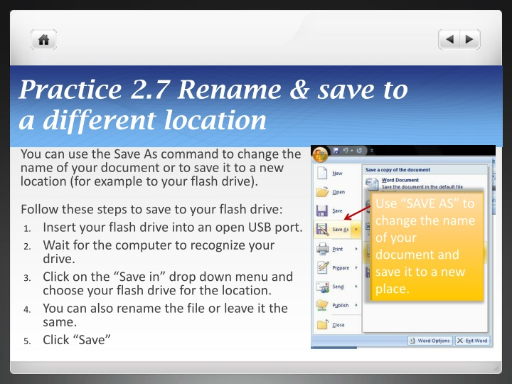 Practice 2.7 Rename & save to
