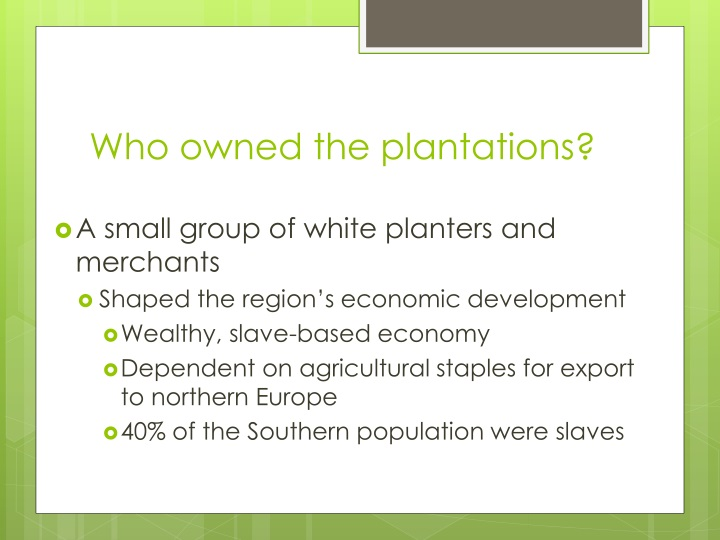 Who owned the plantations?